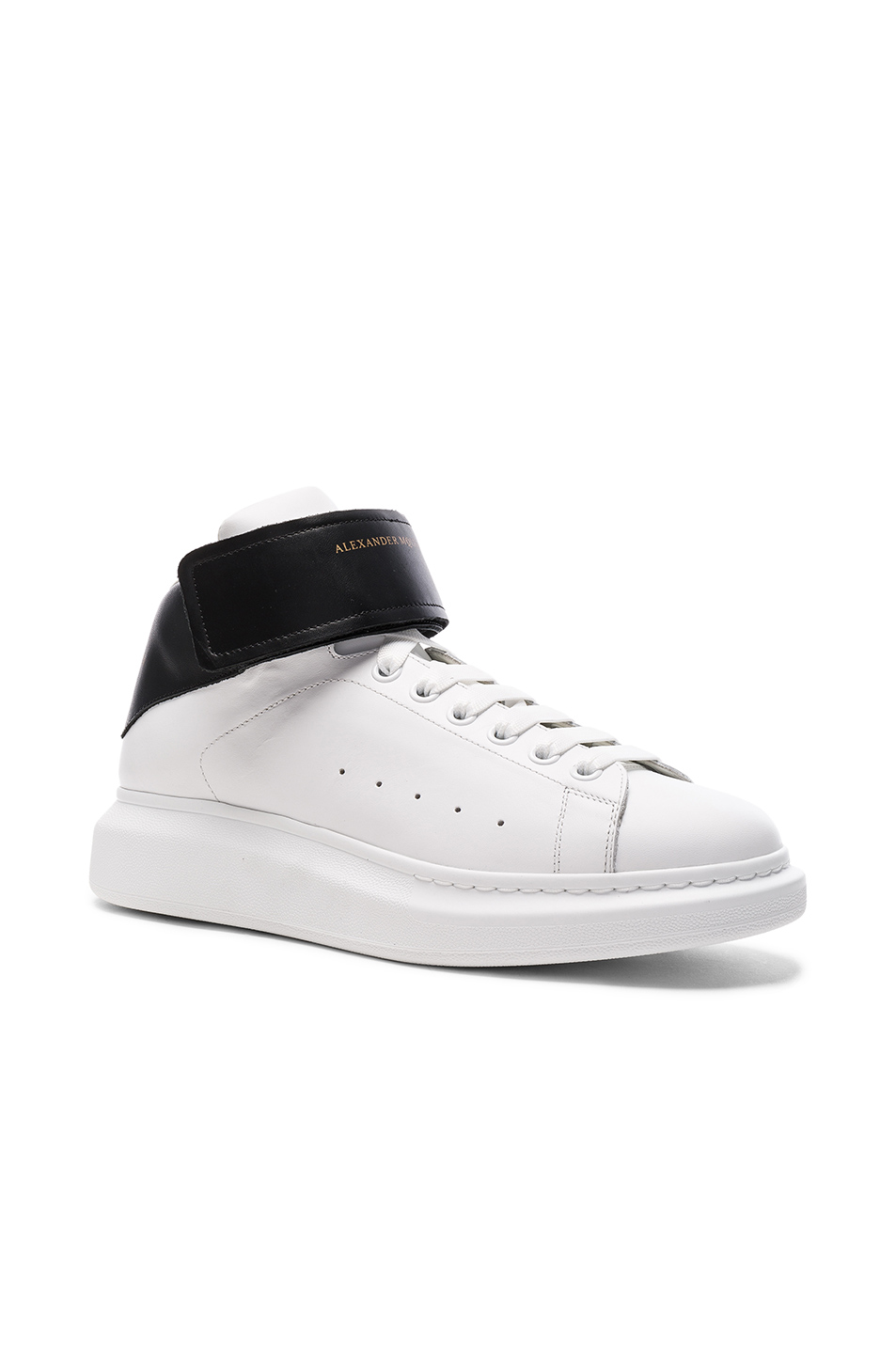 Alexander McQueen Strap Platform High Top Leather Sneakers in White,Black