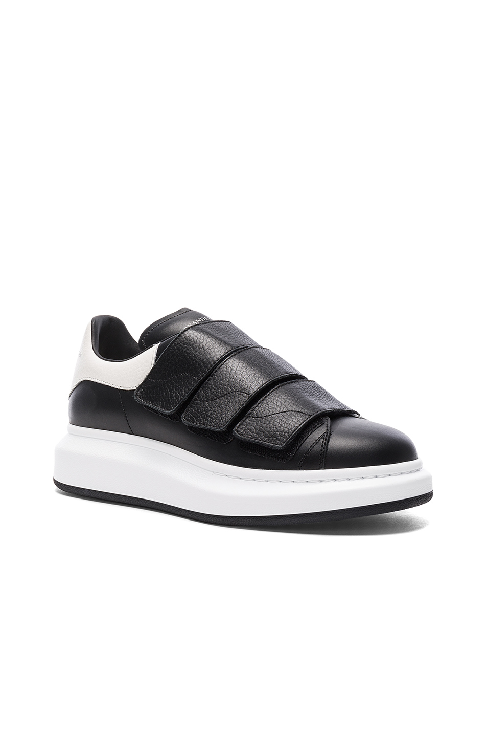Alexander McQueen Leather Platform Velcro Sneakers in Black