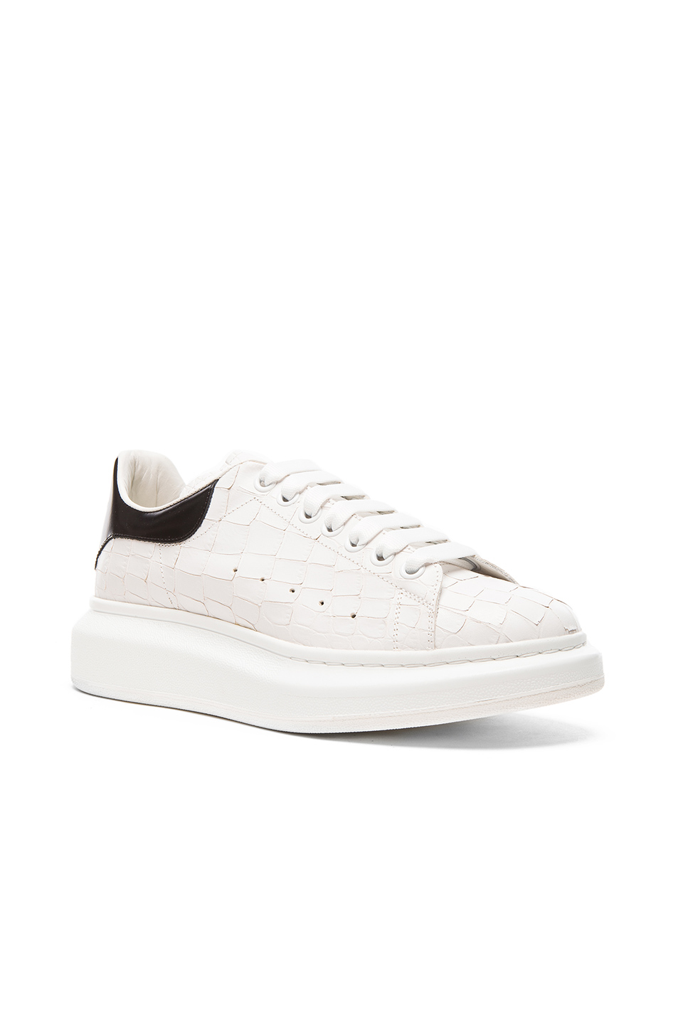 Alexander McQueen Leather Platform Low Top Sneakers in White