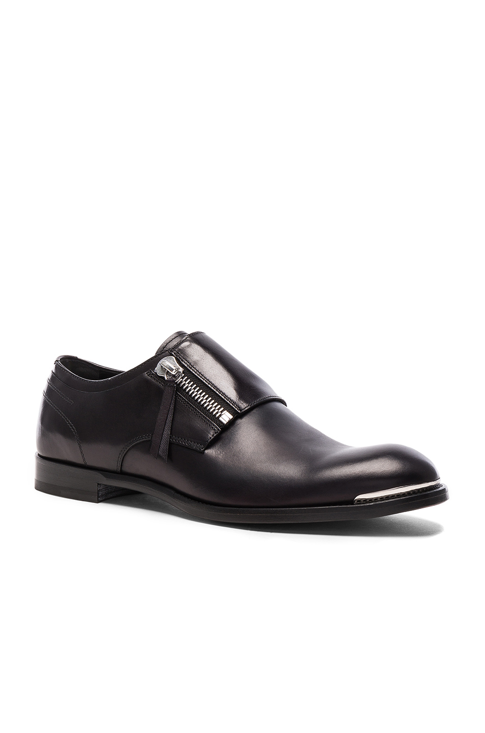 Alexander McQueen Zip Leather Dress Shoes in Black