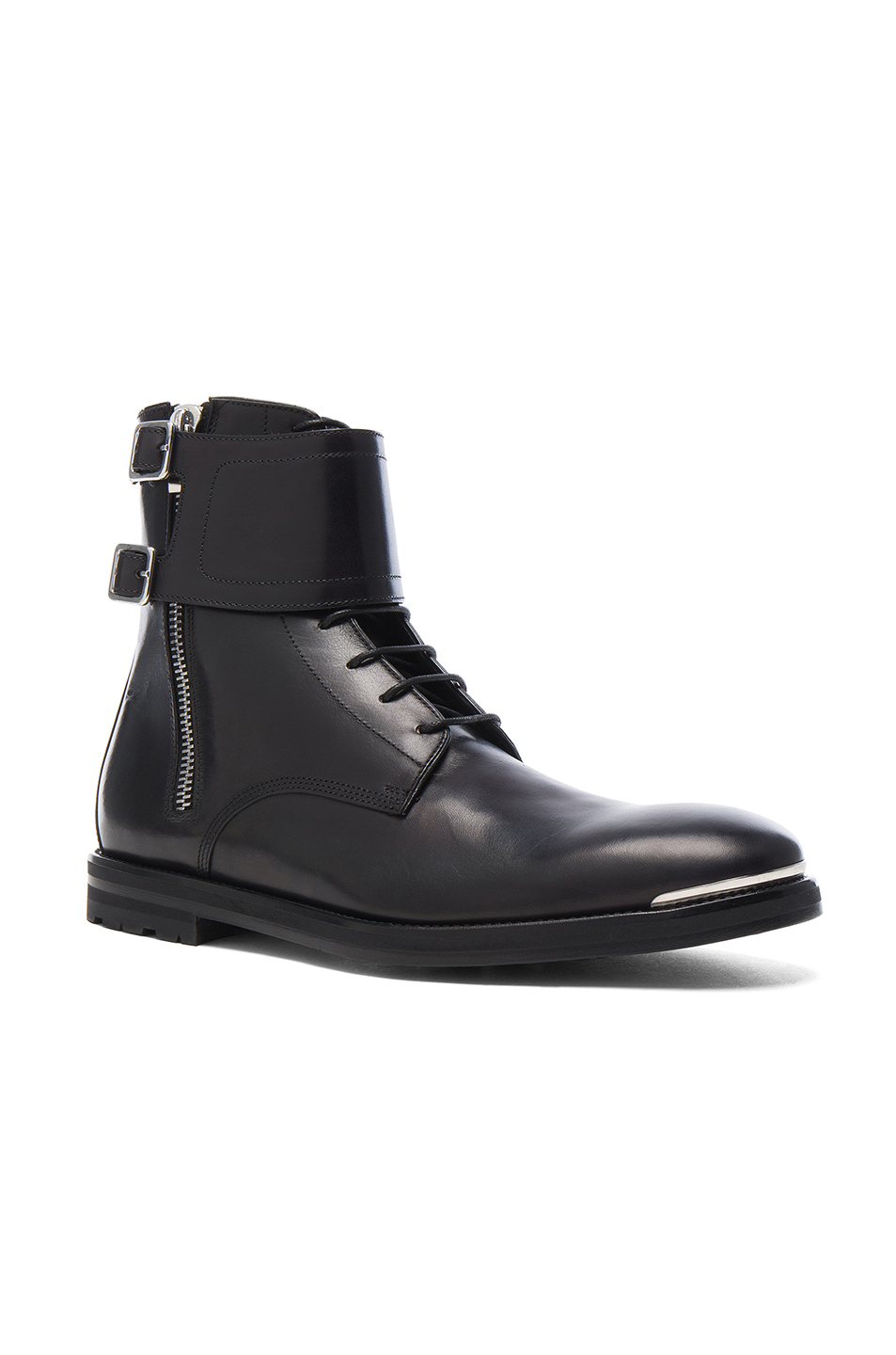 Alexander McQueen Strap Leather Combat Boots in Black