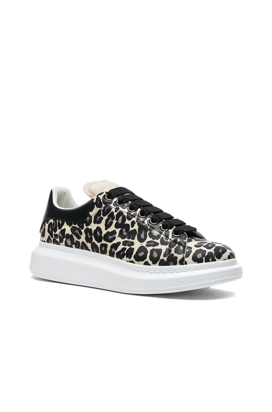 Alexander McQueen Leather Platform Sneakers in Black,Animal Print
