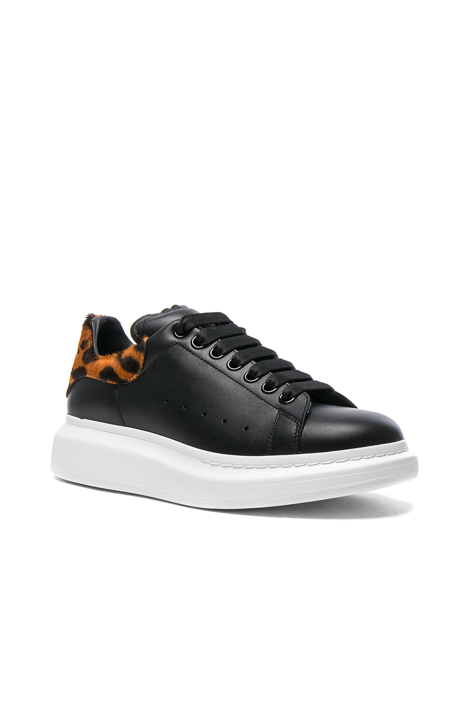 Alexander McQueen Leather Platform Sneakers With Calf Hair in Black
