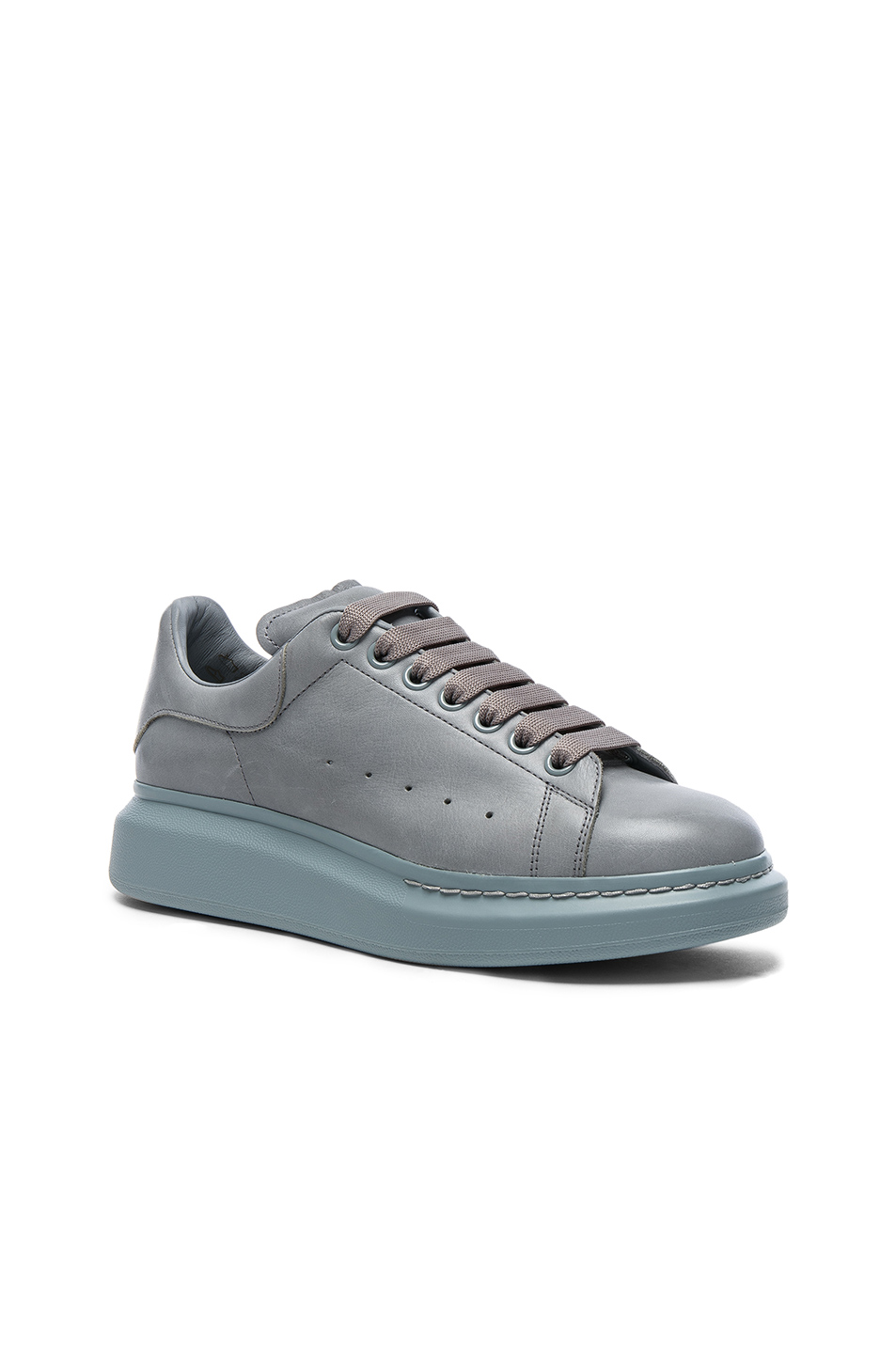 Alexander McQueen Leather Platform Sneakers in Gray