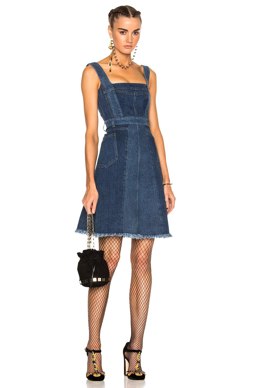 Photo of Alexander McQueen Patchwork Denim Sleeveless Dress in Blue online sales