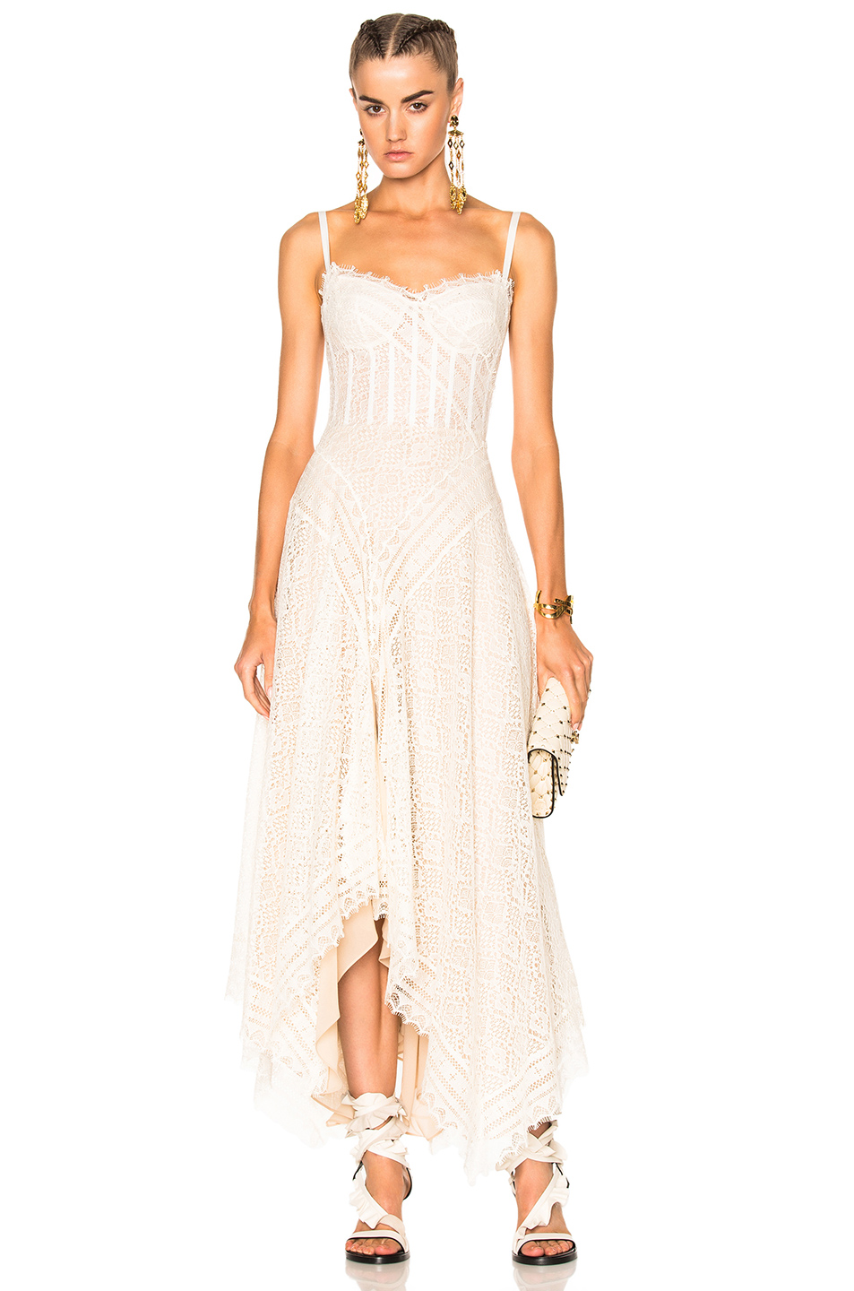 Photo of Alexander McQueen Asymmetrical Lace Dress in Neutrals,White online sales