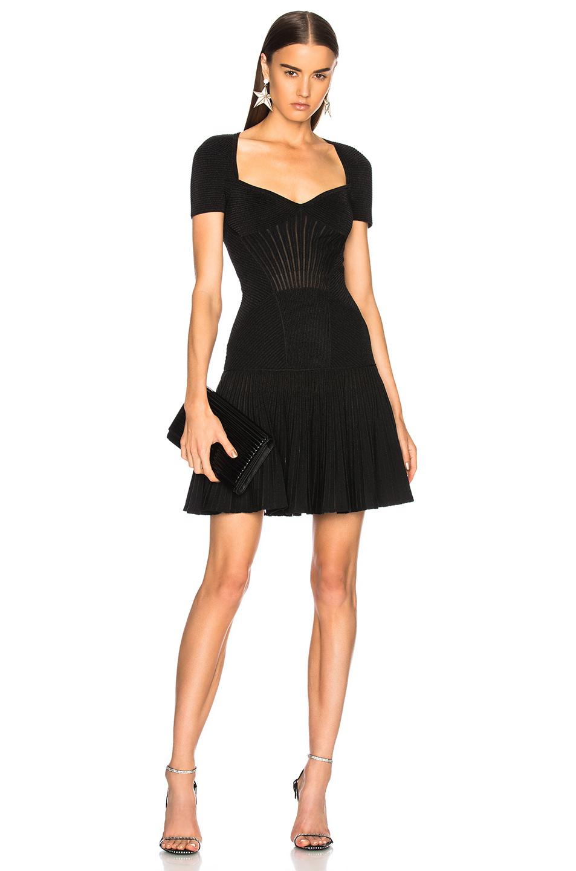 Alexander McQueen Metallic Armor Knit Mini Dress in Black,Metallics