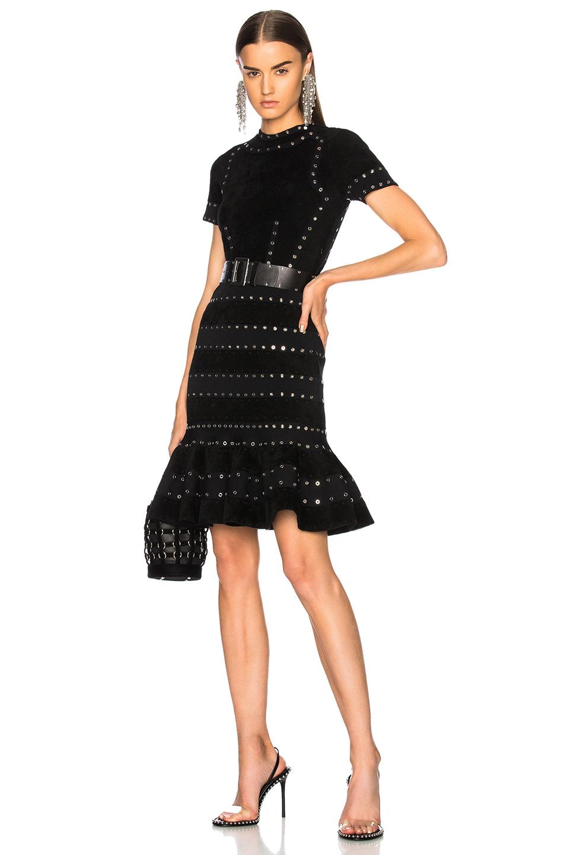 Alexander McQueen Eyelet Embellished Short Sleeve Mini Dress in Black