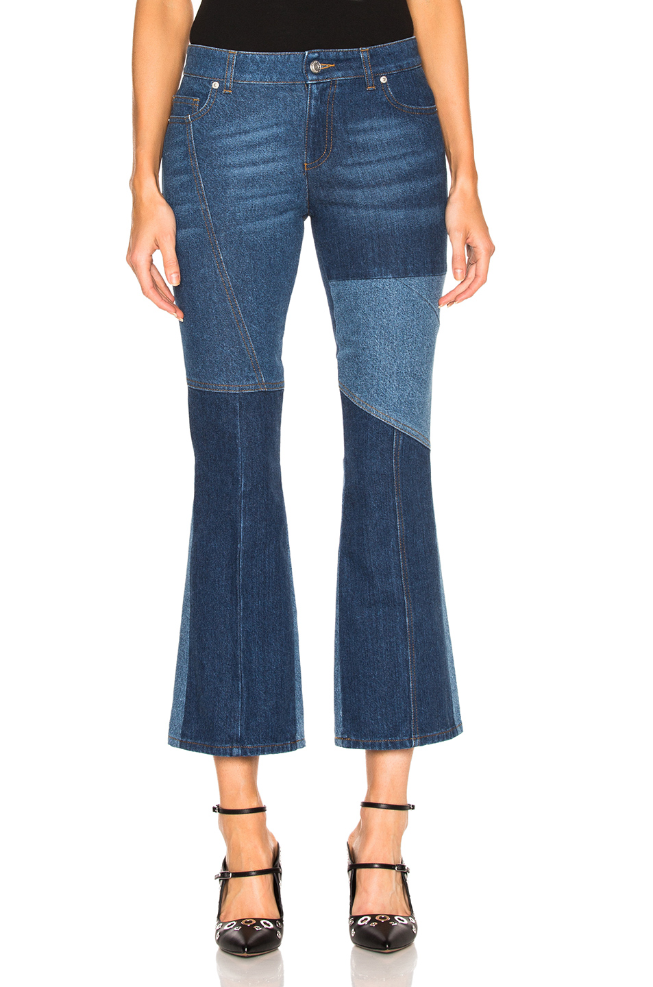 Alexander McQueen Patchwork Cropped Flare Jeans in Blue