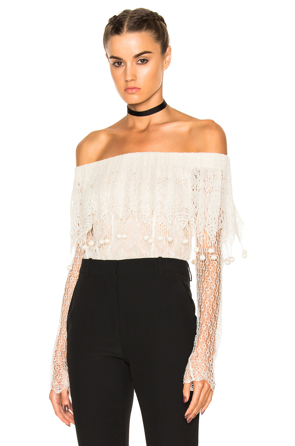 Alexander McQueen Off the Shoulder Lace Sweater in Neutrals,White