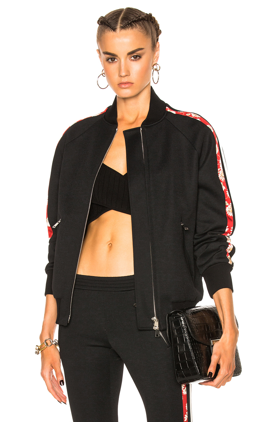 Alexander McQueen Track Bomber in Black,Floral