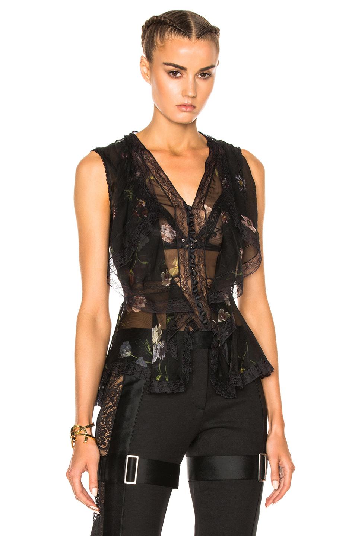 Photo of Alexander McQueen Sleeveless Top in Black,Floral online sales