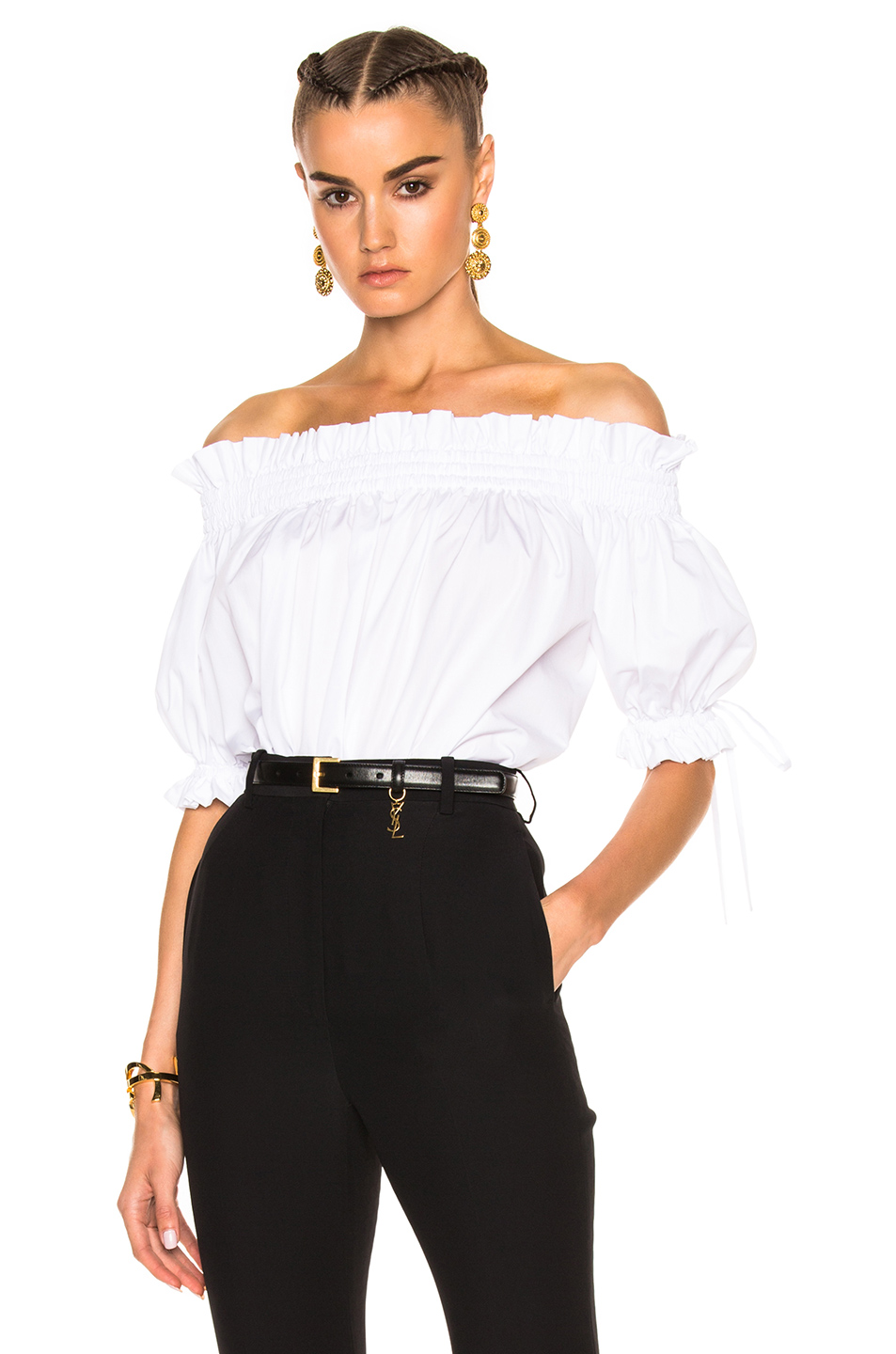 Alexander McQueen Off the Shoulder Blouse in White