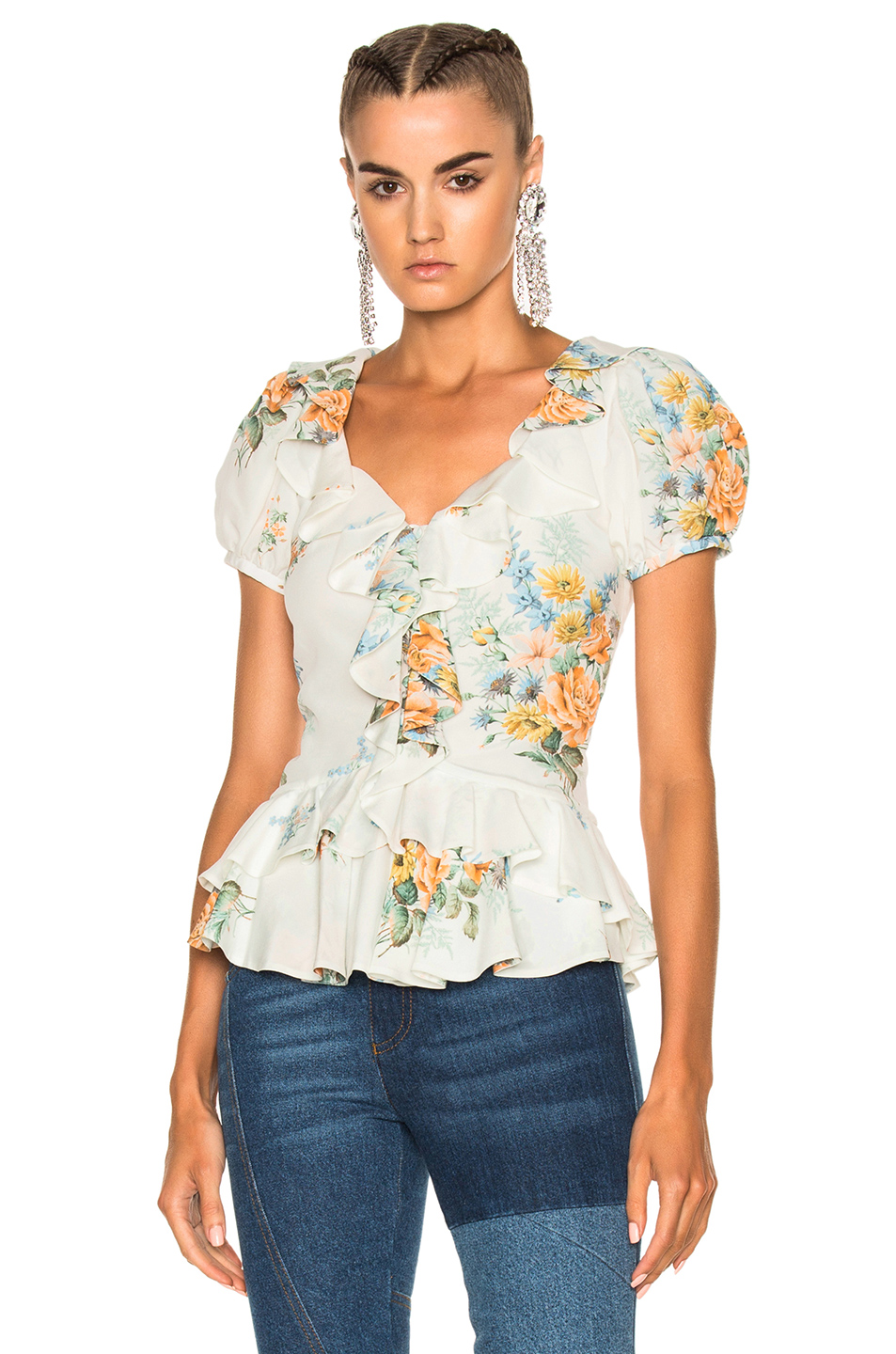 Alexander McQueen Printed Ruffle Blouse in Blue,Green,Floral,Orange,White