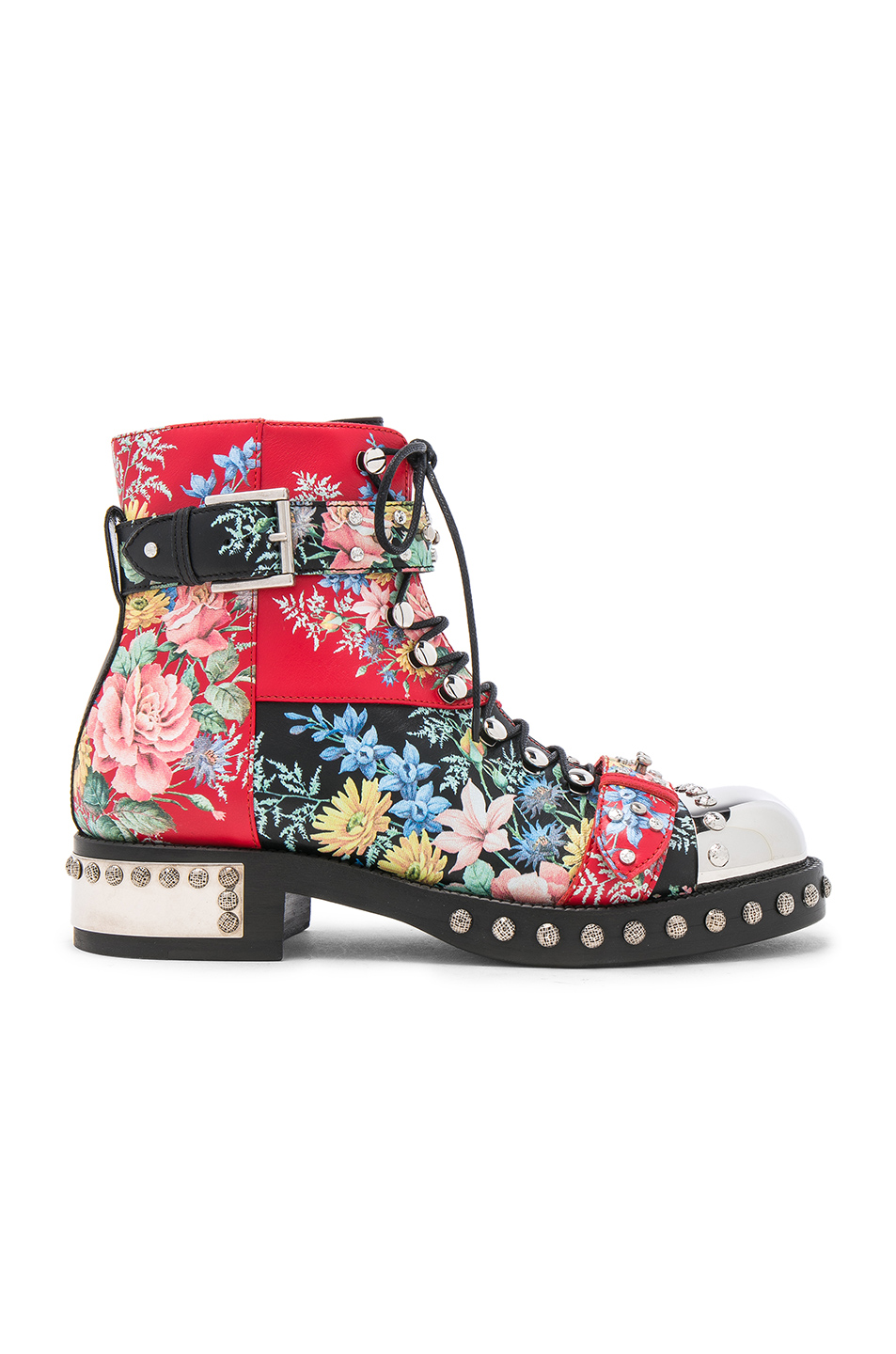 Alexander McQueen Studded Leather Combat Boots in Floral,Red,Black