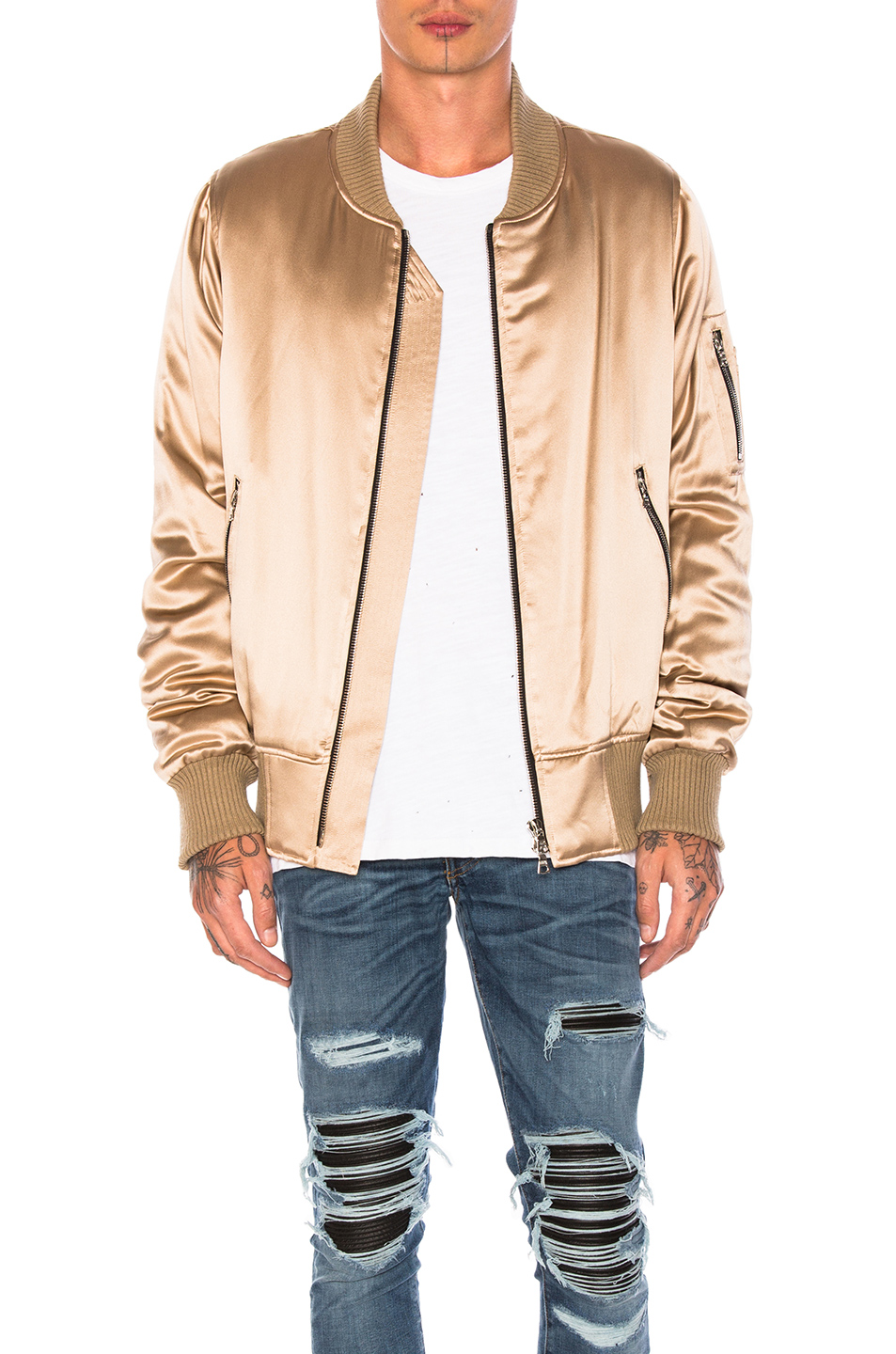 Amiri Silk Bomber in Metallics,Neutrals