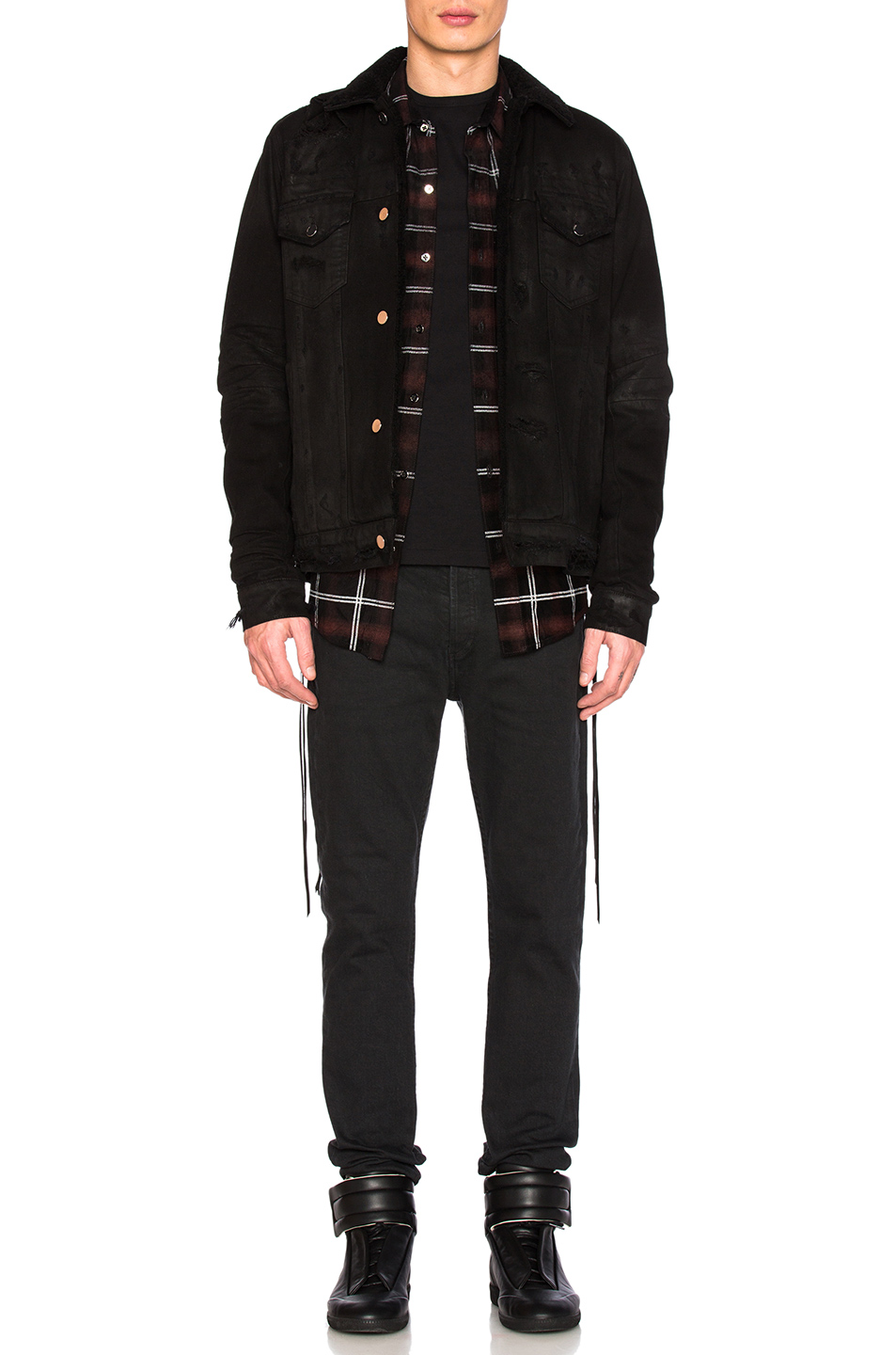 Amiri Shearling Denim Trucker Jacket in Black
