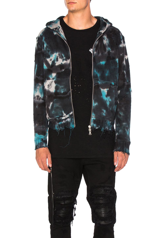 Amiri Shotgun Zip Hoodie in Blue,Ombre & Tie Dye