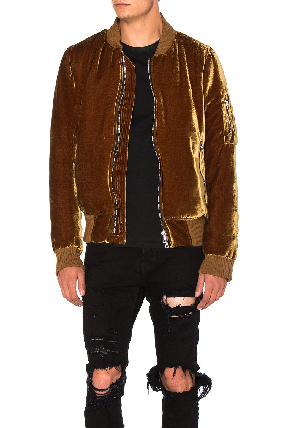 Amiri Silk Velvet Bomber Jacket in Brown,Metallics