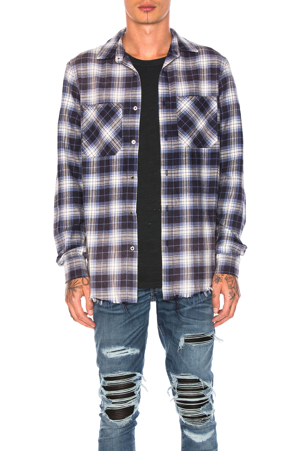 Amiri Grunge Flannel in Blue,Checkered & Plaid
