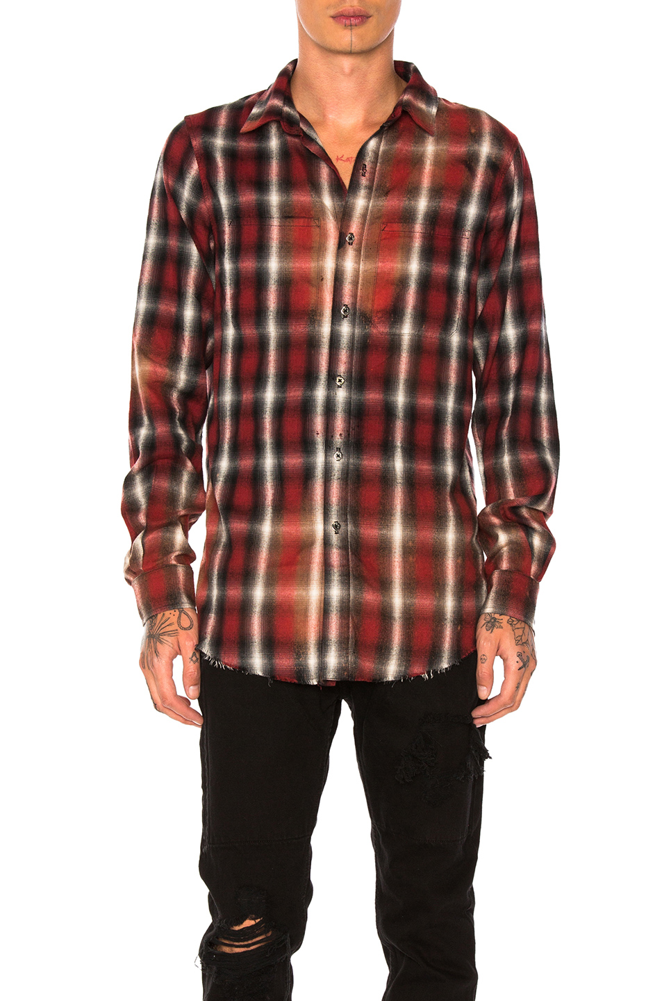 Amiri Spray Plaid Shirt in Red,Checkered & Plaid