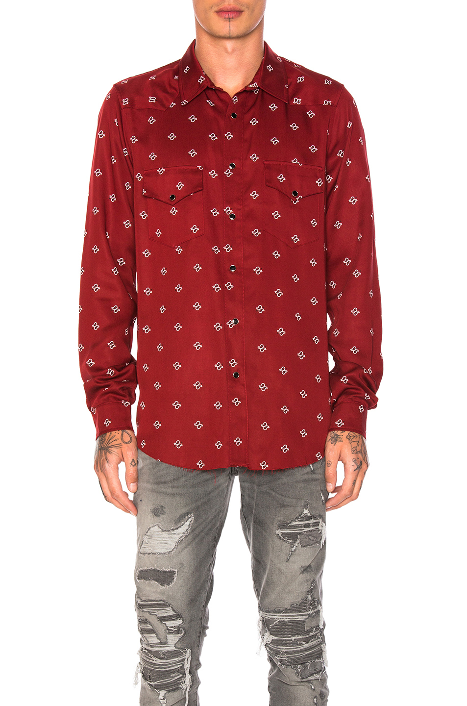 Amiri Western Paisley Shirt in Red,Floral