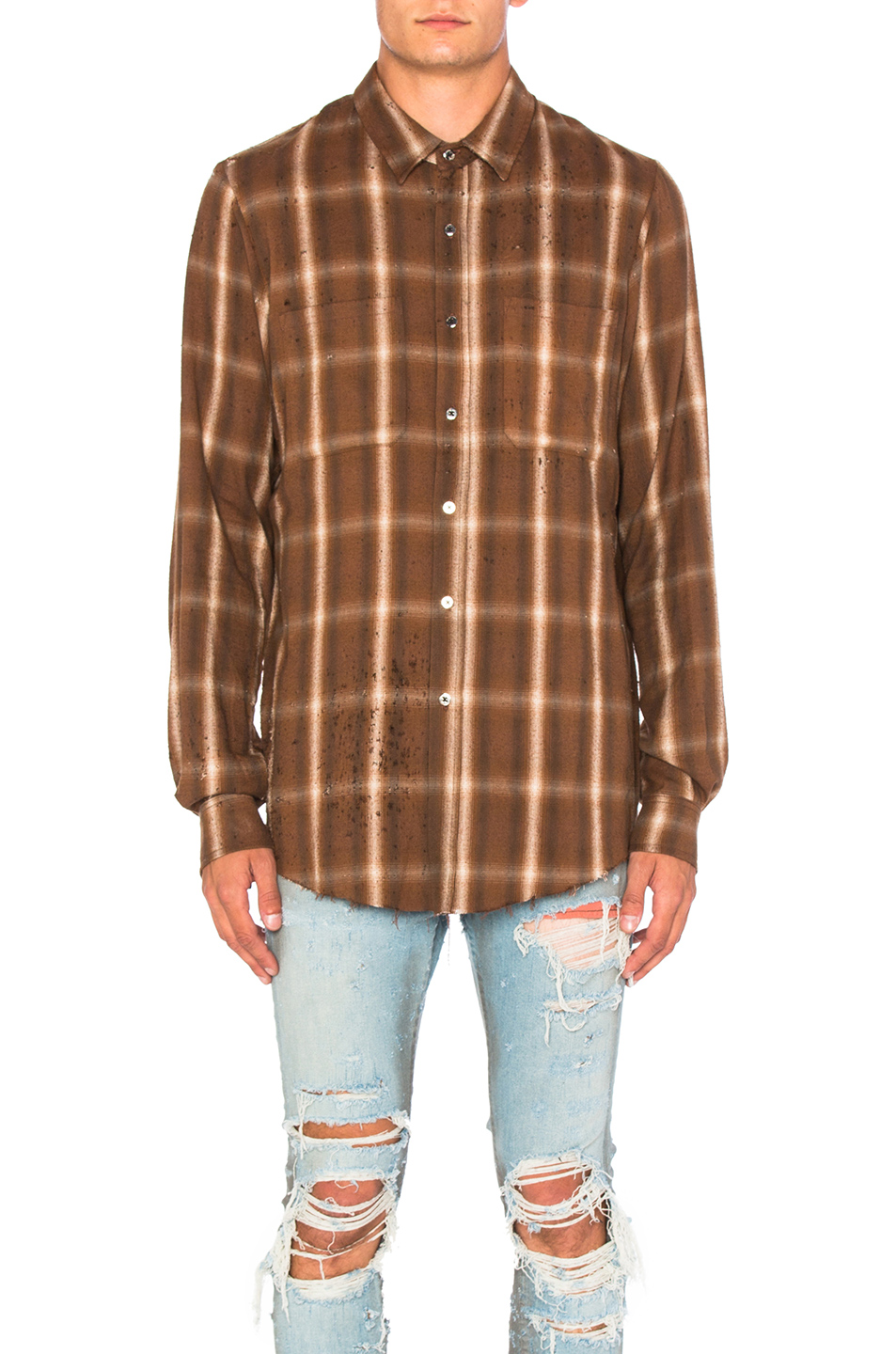 Amiri Shotgun Plaid Shirt in Brown,Checkered & Plaid