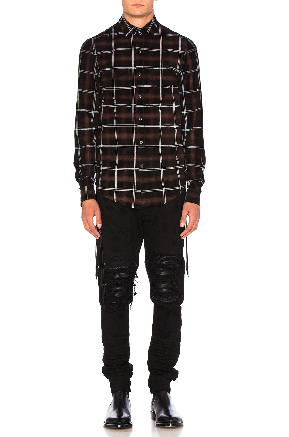 Amiri Suede Plaid Shirt in Red,Checkered & Plaid