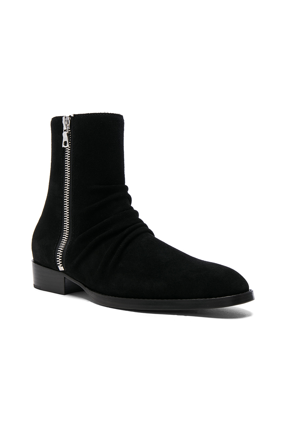 Amiri Suede Skinny Stack Boots in Black
