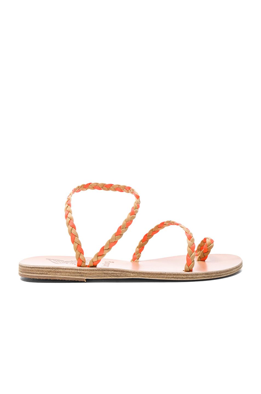 Ancient Greek Sandals x Lemlem Leather Eleftheria Braids Sandals in Orange,Neutrals,Neon