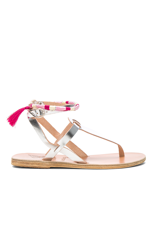 Ancient Greek Sandals x Lemlem Metallic Leather Estia Wrap Sandals in Metallics,Pink