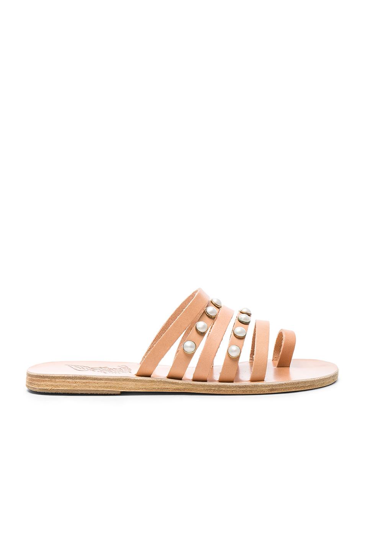 Ancient Greek Sandals Leather Niki Pearls Sandals in Neutrals