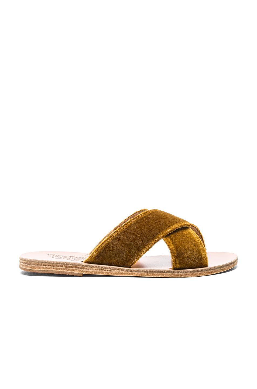 Ancient Greek Sandals Velvet Thais Sandals in Yellow,Brown