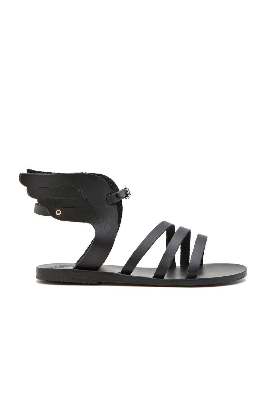 Ancient Greek Sandals Ikaria Calfskin Leather Sandals in Black