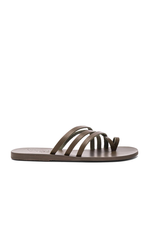Ancient Greek Sandals Leather Apli Amalia Sandals in Green