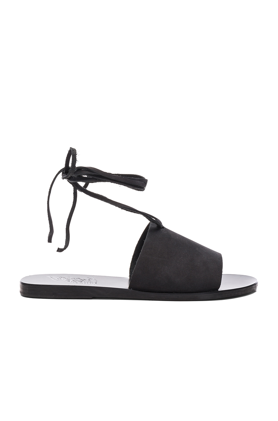 Ancient Greek Sandals Leather Christina Sandals in Black
