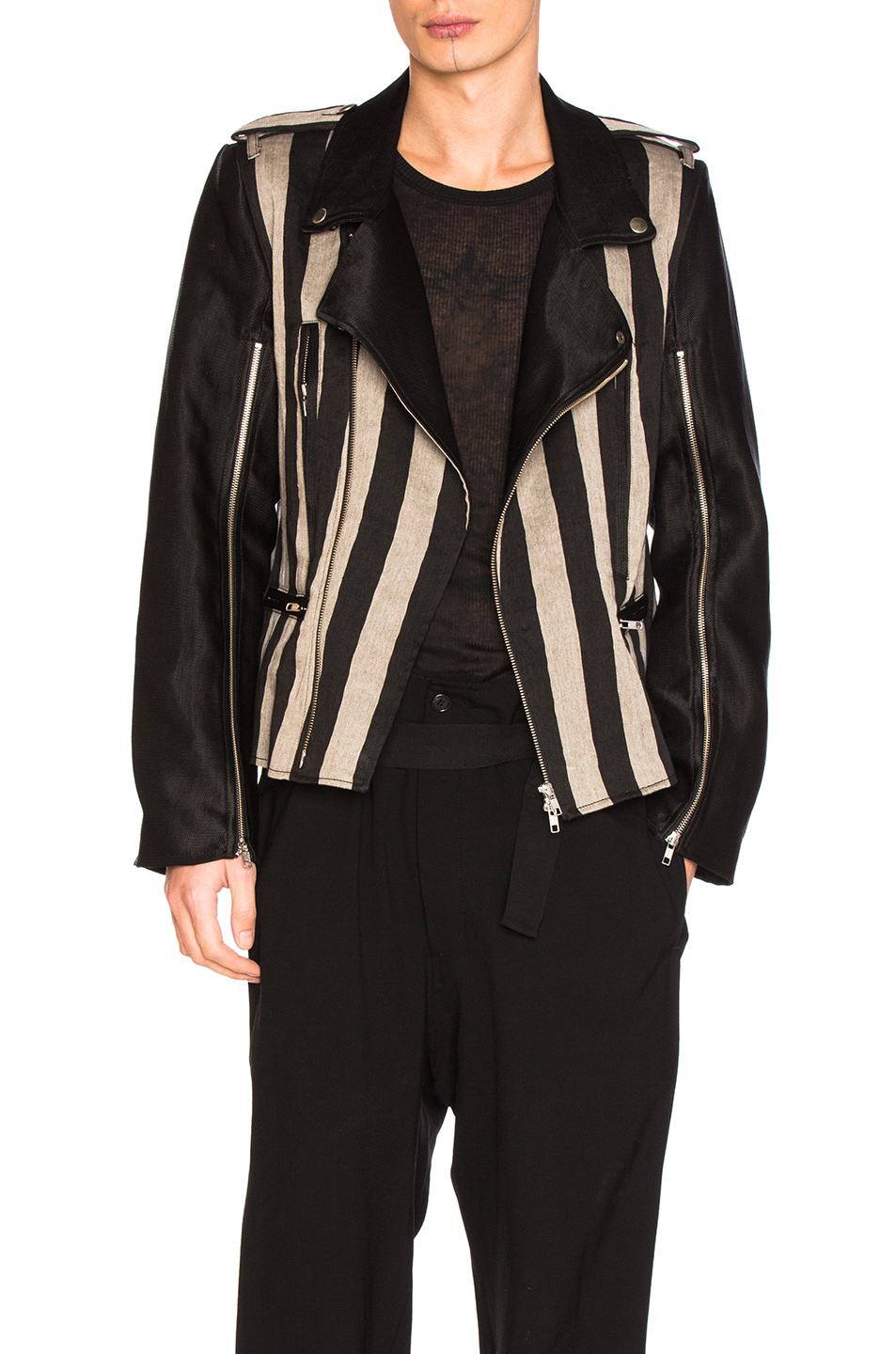 Ann Demeulemeester Blouson in Black,Stripes