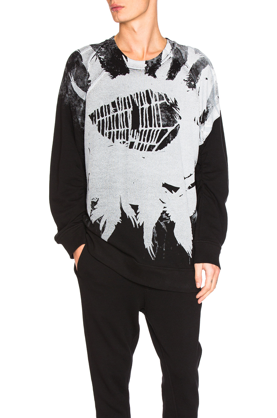 Ann Demeulemeester Printed Sweatshirt in Black,Gray,Abstract