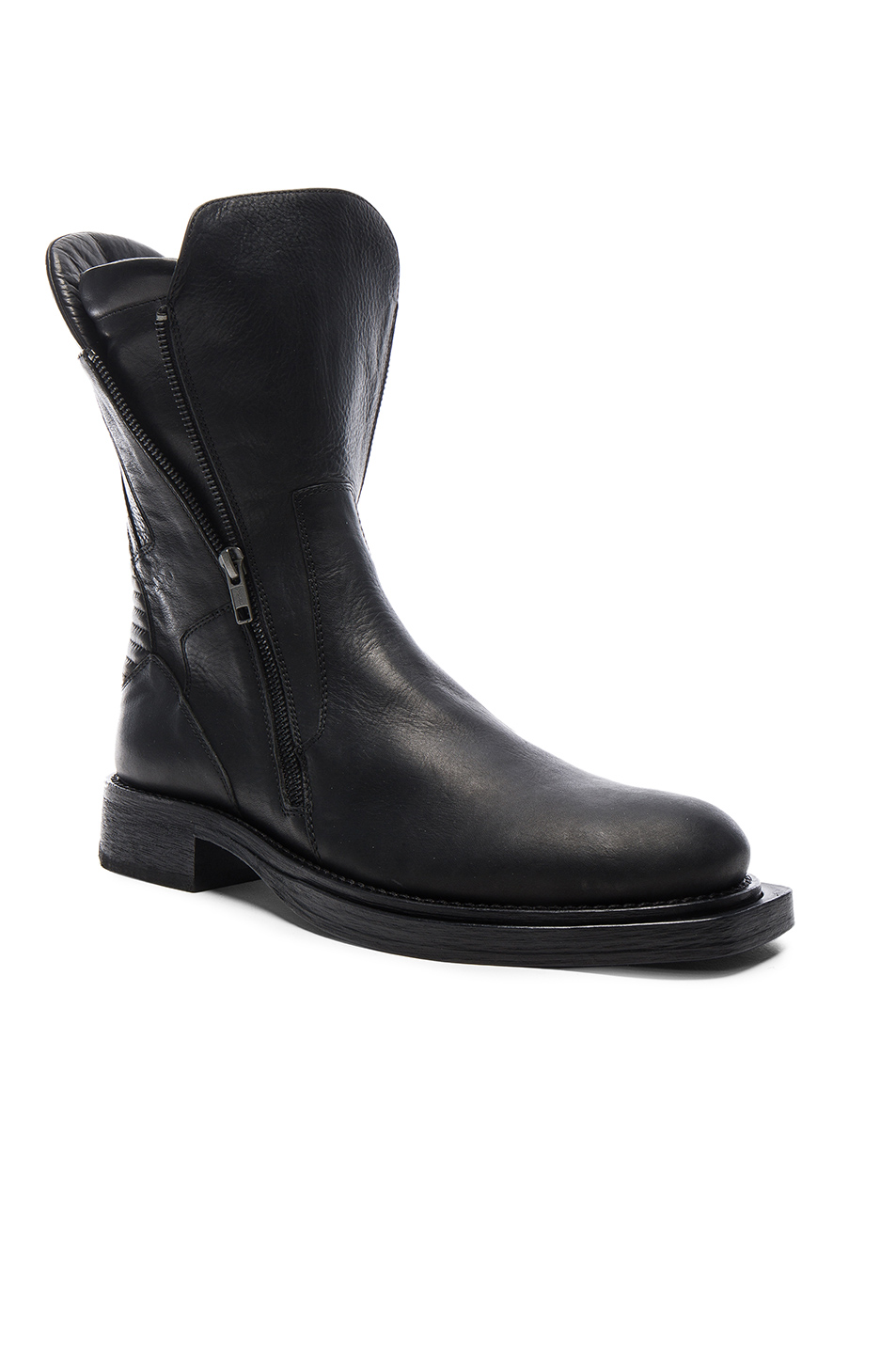 Ann Demeulemeester Leather Moto Boots in Black