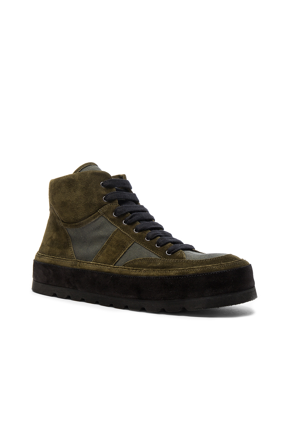 Ann Demeulemeester Canvas & Suede Sneakers in Green
