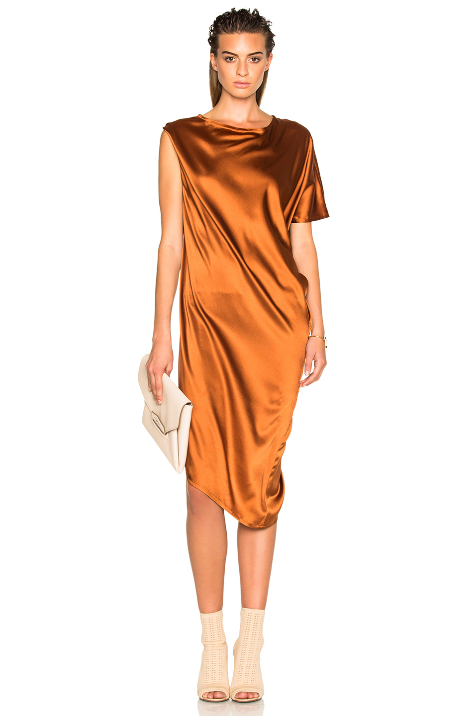 Ann Demeulemeester Drape Dress in Brown,Metallics