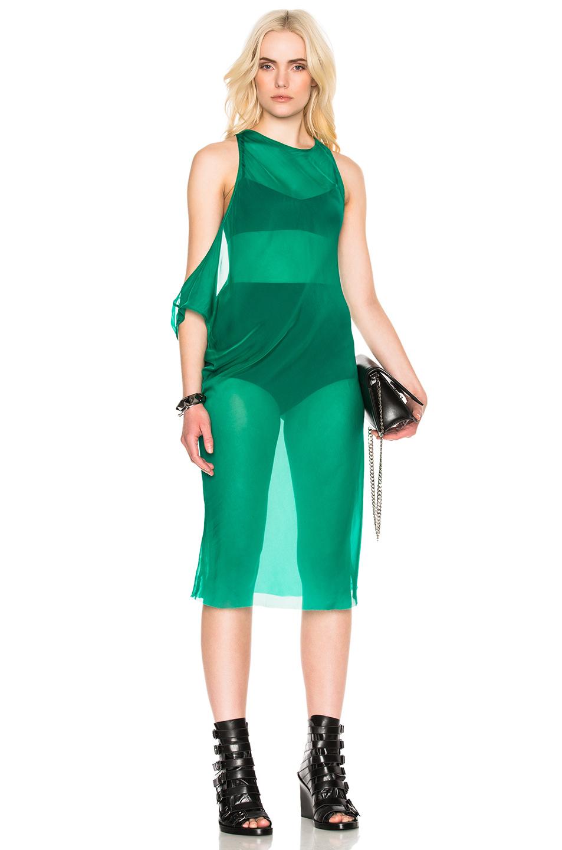 Ann Demeulemeester Chiffon Tunic Dress in Green