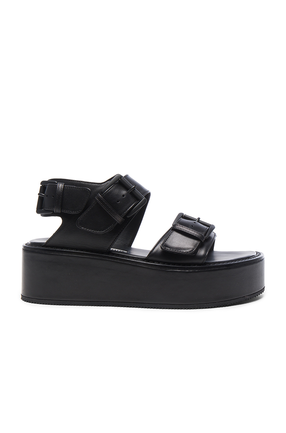 Ann Demeulemeester Leather Platform Sandals in Black