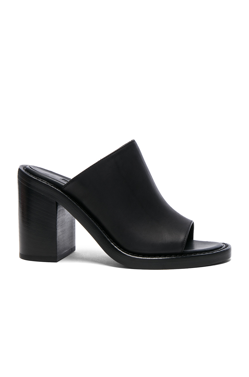 Ann Demeulemeester Leather Mules in Black