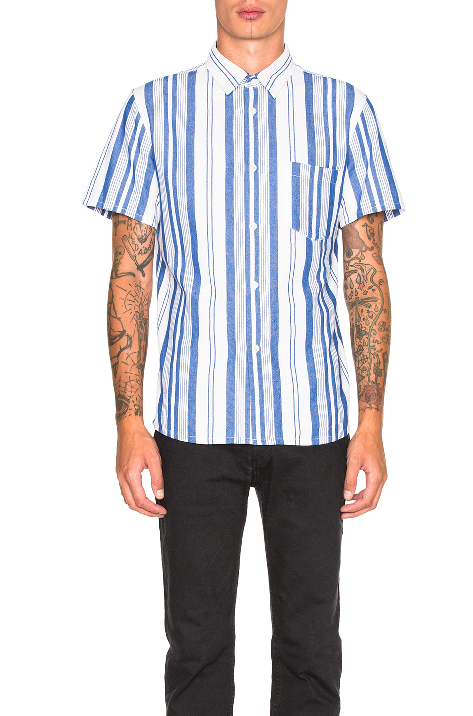 A.P.C. Bryan Shirt in White,Blue,Stripes