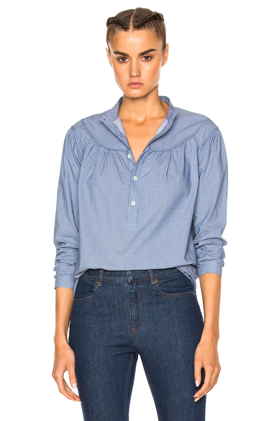A.P.C. Sally Blouse in Blue,Stripes