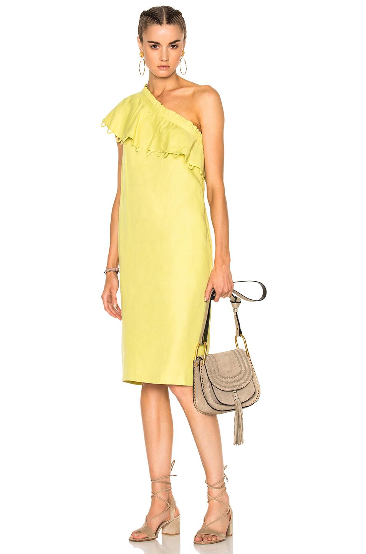 Apiece Apart Reina One Shoulder Ruffle Dress in Yellow