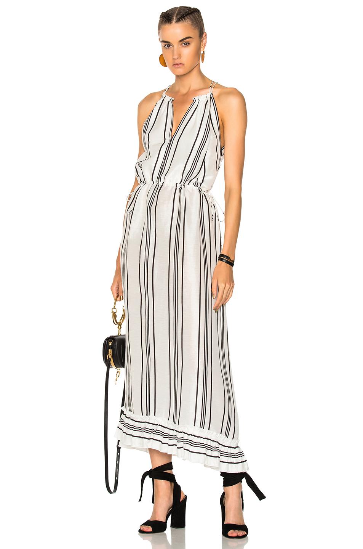 APIECE APART Himalaya Wide Sweep Tank Dress in Stripes,White