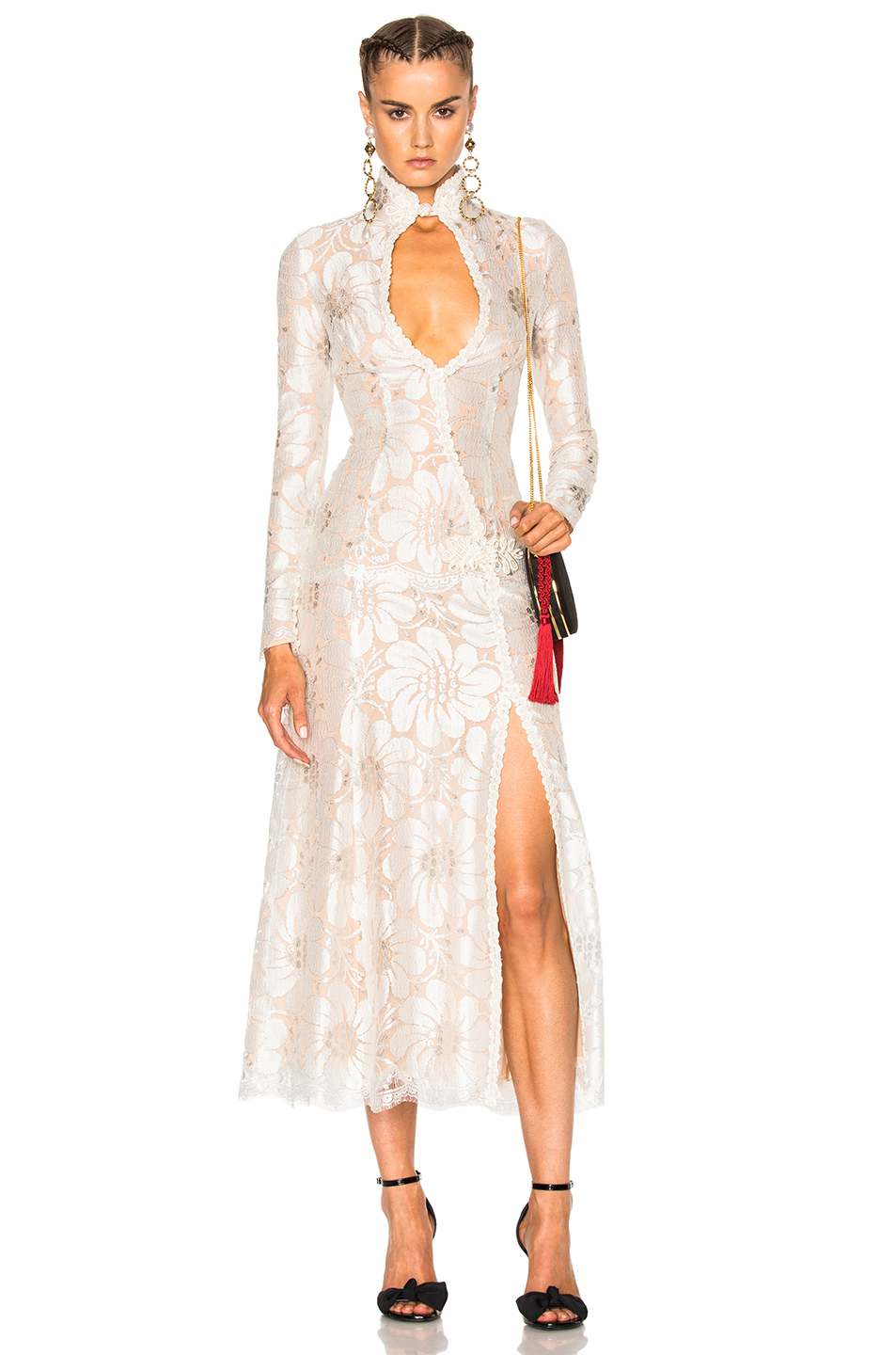 Alessandra Rich for FWRD L'Amant Chantilly Embellished Lace Dress in White,Neutrals