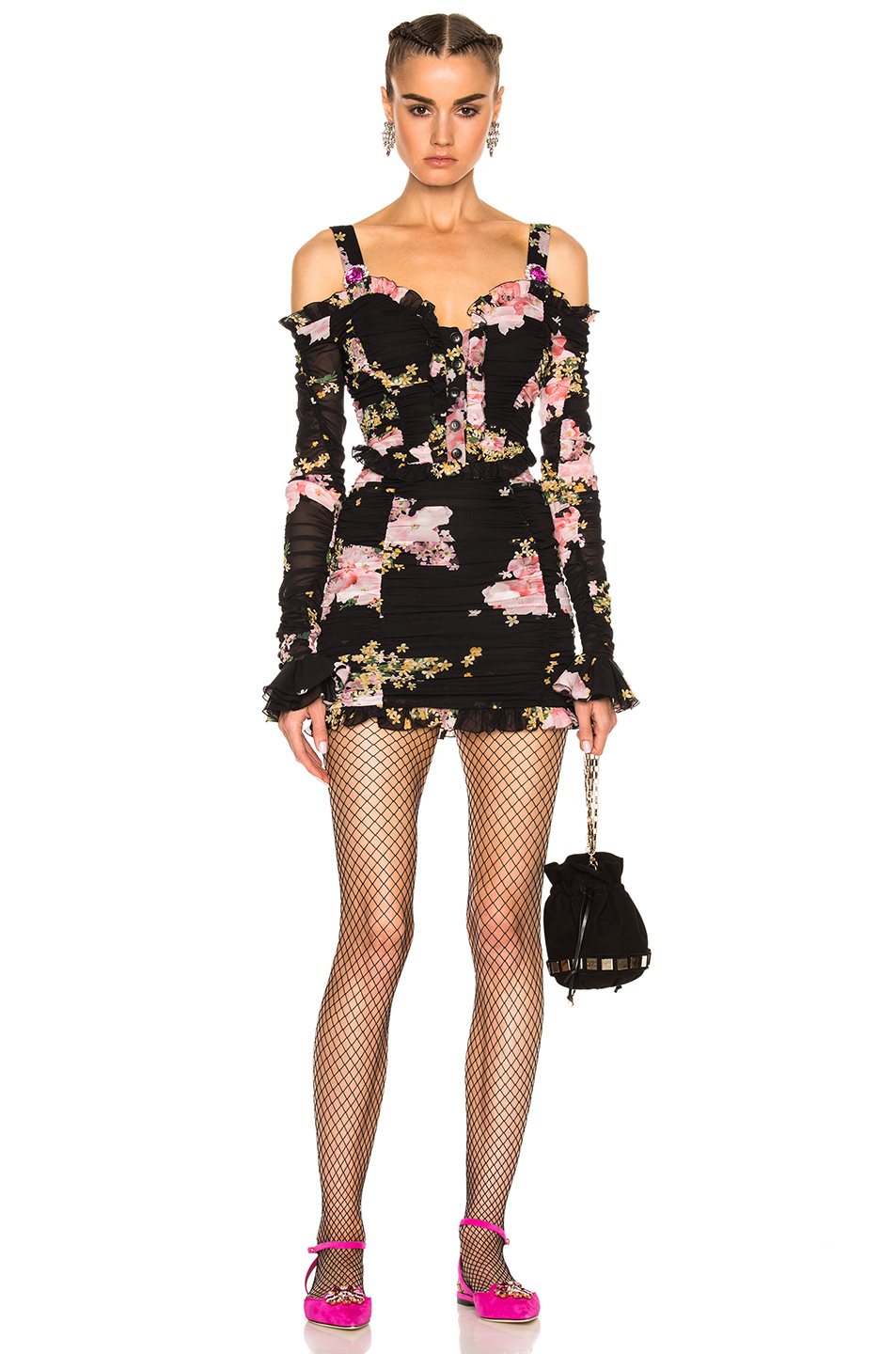 Alessandra Rich Floral Mini Dress in Black,Floral,Pink